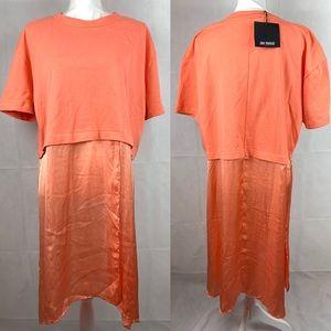 Zara Peach Orange Short Sleeve Long Top NWT